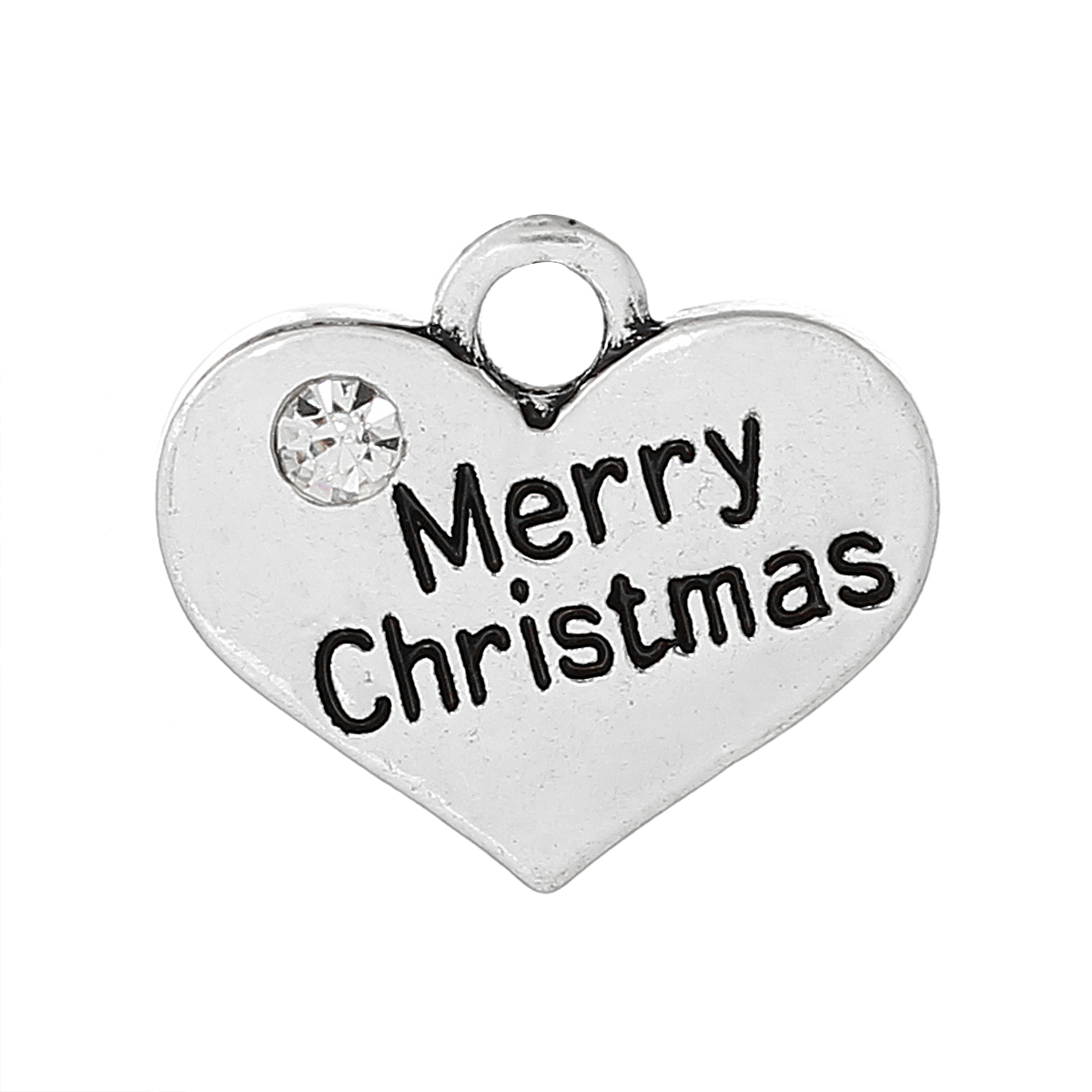 Antique silver merry christmas heart charm pendant