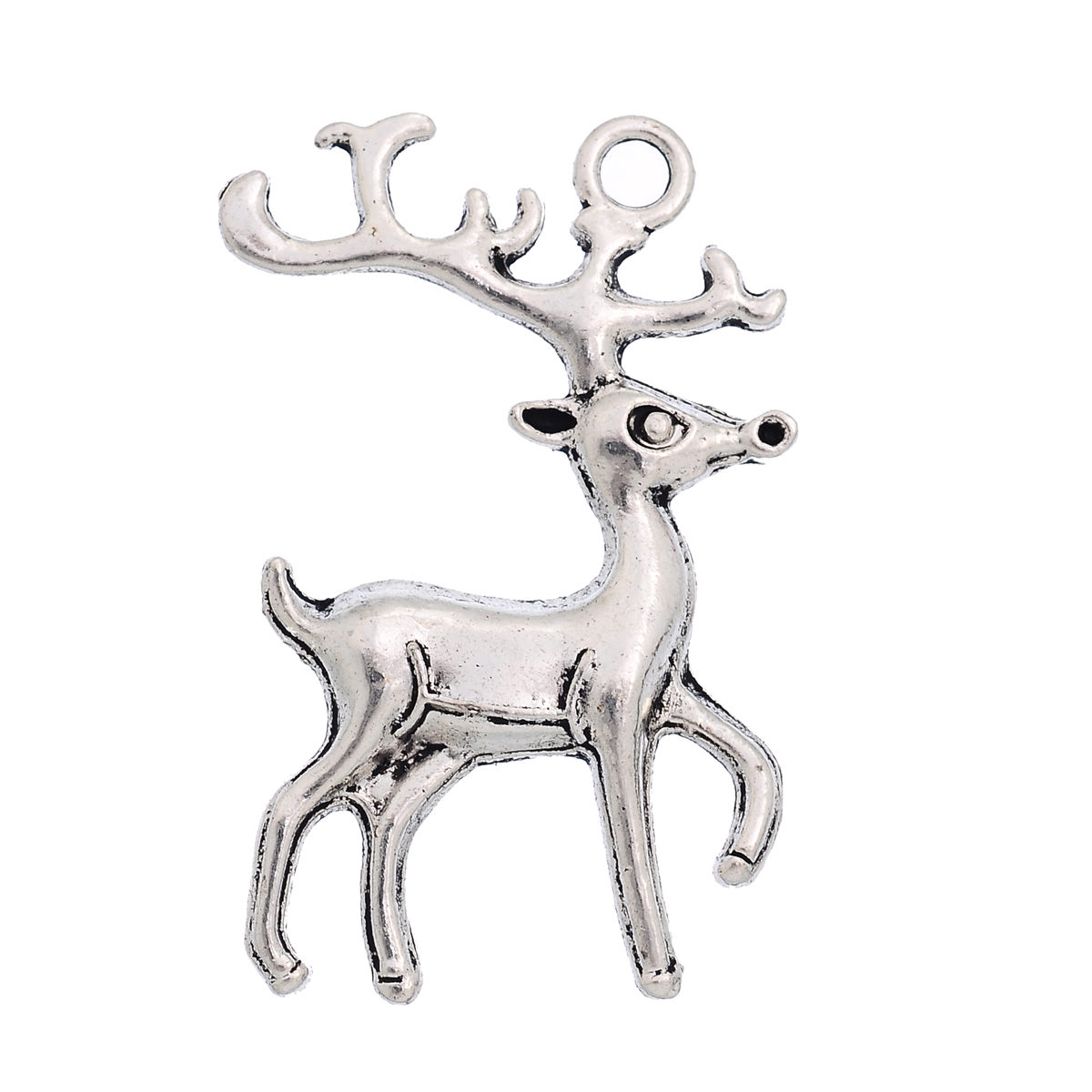 27-13 10 Antique Silver Reindeer Charms